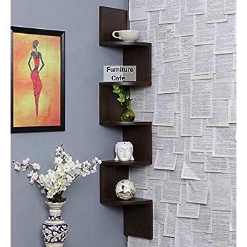 Furniture Cafe Zigzag Corner Wall Mount Shelf Unit/Racks and Shelves/Wall Shelf/Book Shelf/Wall Decoration (Walnut Finish, Brown)