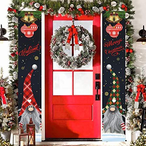 Decoración de Navidad Navidad Puerta Porche signo colgante Navidad para la pared del hogar puerta delantera interior al aire libre Navidad Banner decoración