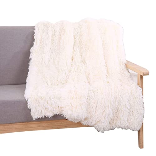 YOUSA Super Soft Shaggy Faux Fur Blanket Ultra Plush Decorative Throw Blanket 51''*63'',Cream White