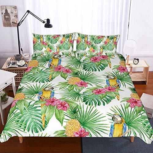 Set completo di biancheria da letto a due piazze, effetto 3D, composto da 1 copripiumino e 2 federe in poliestere, stampa lampo, facile da pulire (doppio 200 x 200 cm, cactus verde), Microfibra, Cactus, Single-135x200