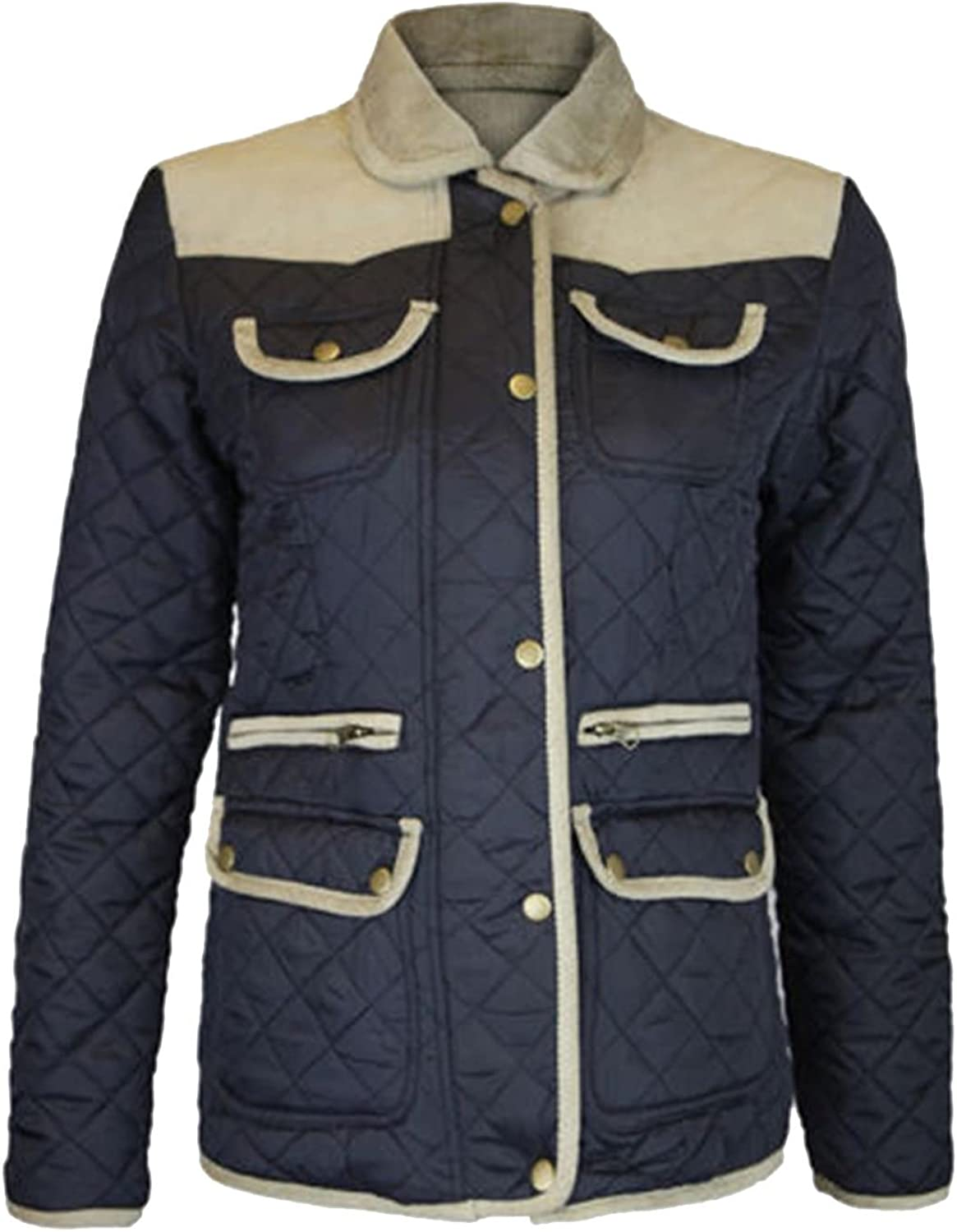 Womens Padded Winter Jackets Ribbed Elbow Patch Quilted Coats