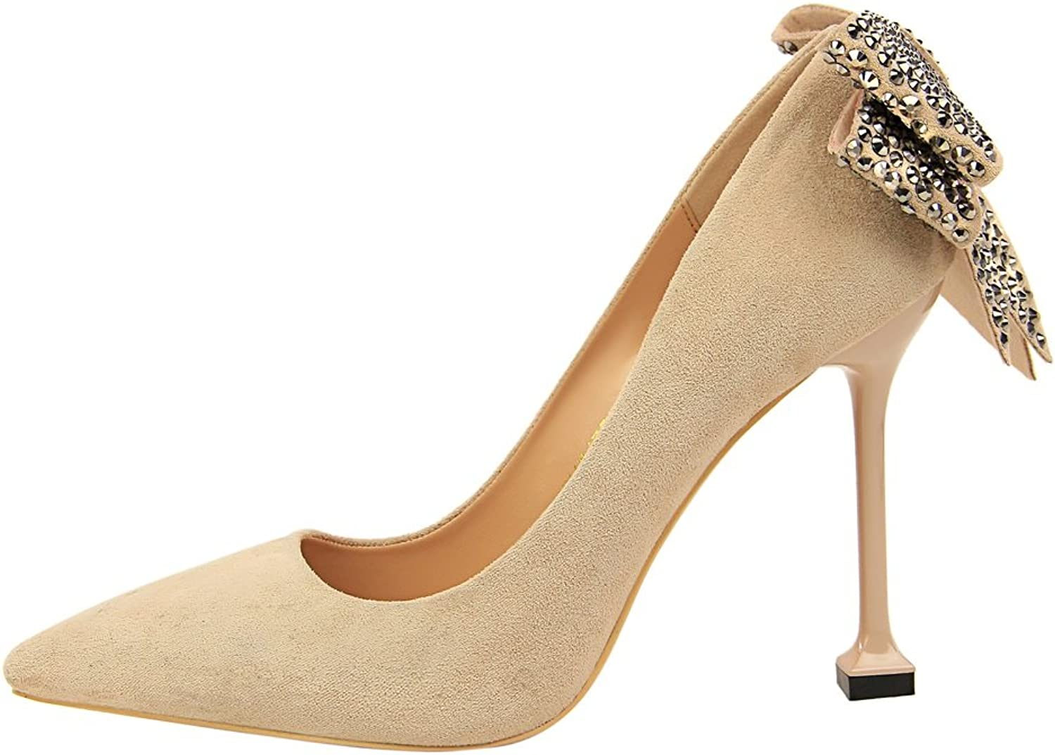 Korean Version of The Sexy Nightclub with Super High with Suede Shallow Mouth Pointed After The Rhinestone Bow Women's Singles shoes Mesh Hollow shoes Sexy Club Spike Needle Gradient Sequins XIAOQI