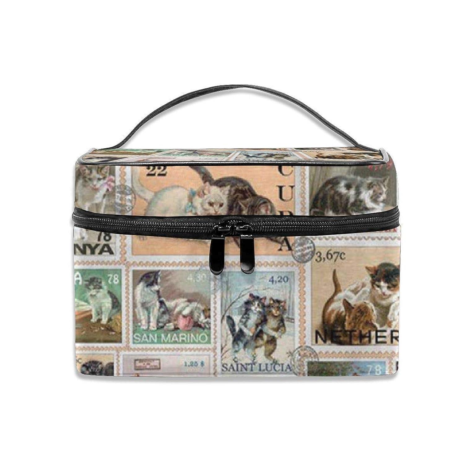 統計社交的値下げ猫柄 切手 綴りの図案 化粧ポーチ 化粧品バッグ 化粧品収納バッグ 収納バッグ 防水ウォッシュバッグ ポータブル 持ち運び便利 大容量 軽量 ユニセックス 旅行する