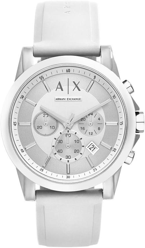 Armani Exchange Outerbanks Analog-Quartz Watch with Silicone Strap, White, 22 (Model: AX1325)