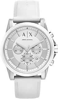 A|X Armani Exchange Men's Silvertone White Nylon with Silicone Straps Watch