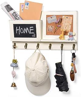 Organisateur d'enveloppe de courrier d'entrée à montage mural, porte-clés porte-manteau avec tableau noir et 6 crochets po...