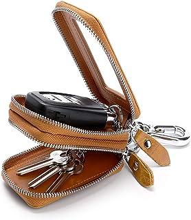 Car Key Case,Genuine Leather Car Key Fob Holder Double Zipper Keychain Wallet Metal Hook for Car Remote Key