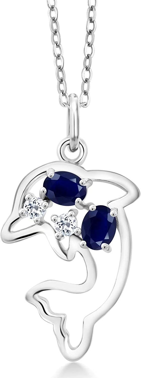 Gem Stone King 925 Sterling Silver White OFFicial site and Sapphire Blue Indefinitely Topaz