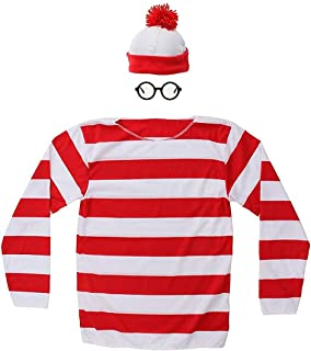 Halloween Cosplay Shirts Costume, Red and White Striped Shirt, Funny Sweatshirt, Glasses Hat Suits