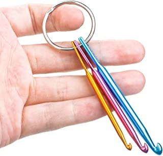 Valar Dohaeris 2 Pieces Mini Keychain Aluminum Crochet Hooks Knitting Needles Tool (3mm,4mm,5mm)
