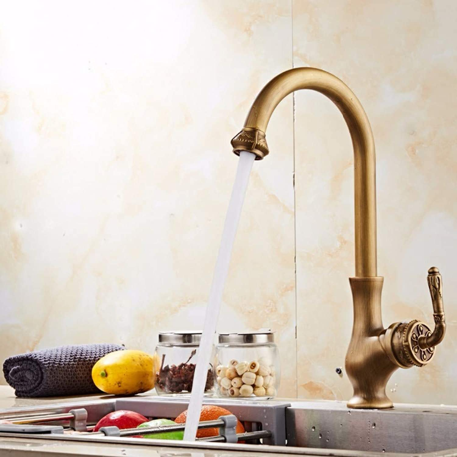 Lddpl Antique Bronze Finish Kitchen Faucets Kitchen Tap Basin Faucets Single Hand Hot and Cold Wash Basin Tap 24