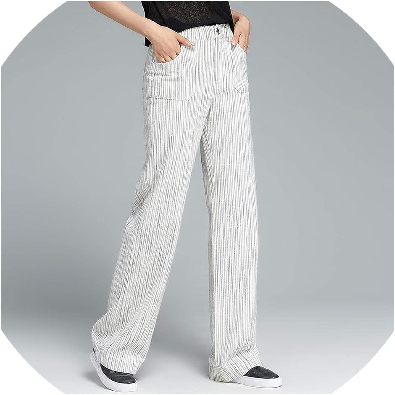 Old street Female Wide Leg Stripes Pants Thin White Cotton Linen Ladies Women Spring Summer Autumn