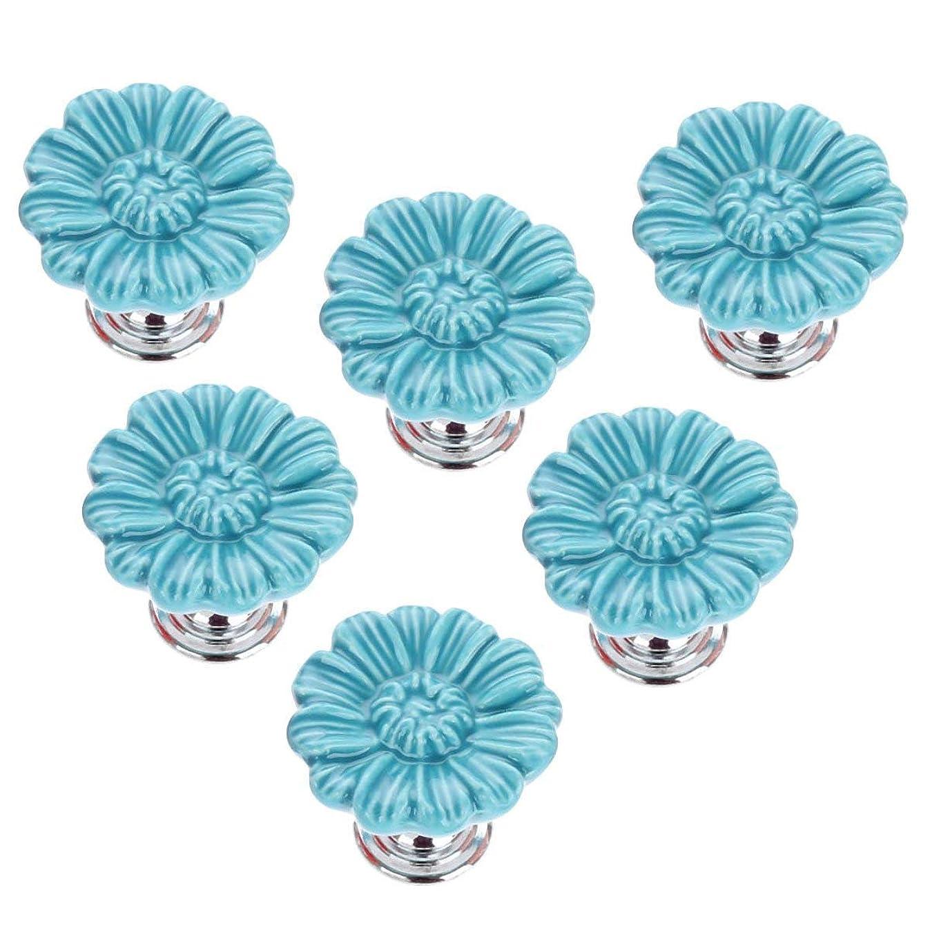 Joyindecor Daisy Flower Drawer Pulls Handles for Baby Nursery Kids Room Cupboard Wardrobe Cabinet, Handmade Cute Decorative Ceramic Dresser Knobs with 3 Size Mounting Screws, 6 Pack (Blue)