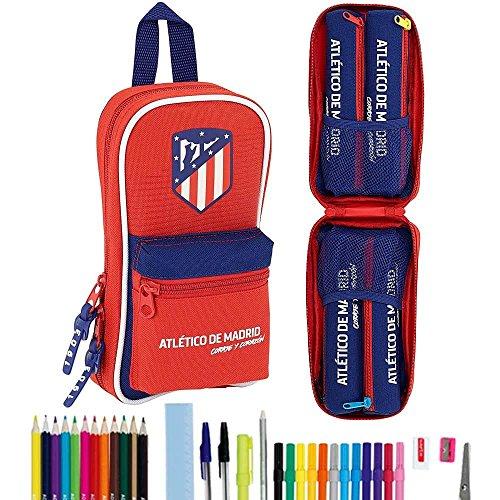 Safta - Plumier Mochila Con 4 Estuches y útiles Atlético De Madrid 'Coraje' Oficial 120x50x230mm