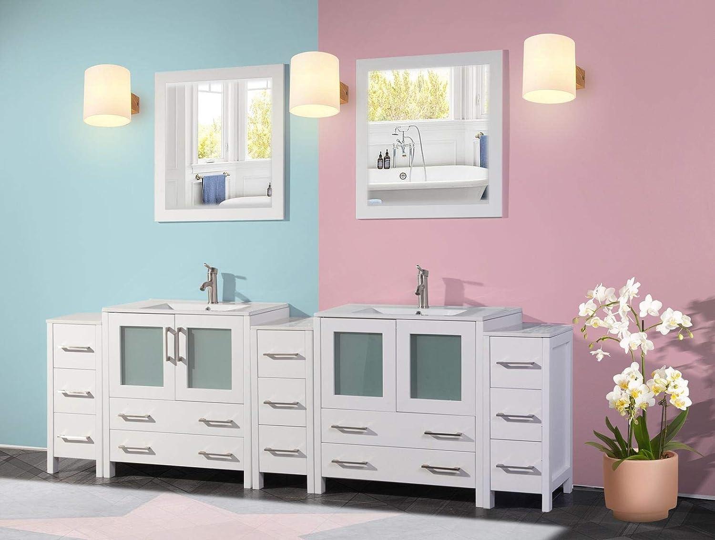 Buy Vanity Art 96 Inch Double Sink Modern Bathroom Vanity Compact Set 2 Shelves 13 Dove Tailed Drawers Ceramic Top Under Mount Sink Bathroom Cabinet With Two Free Mirrors Va3030 96 W Online In Turkey B078jg9x6c