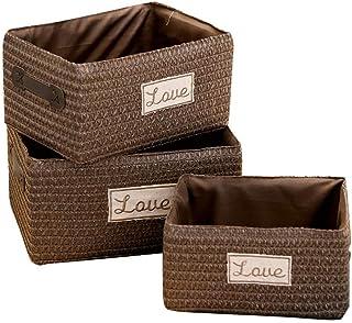 Boîte de Rangement Panier de Rangement Boîte de Rangement tissée Simple Boîte à cosmétiques Panier de collations Stockage ...