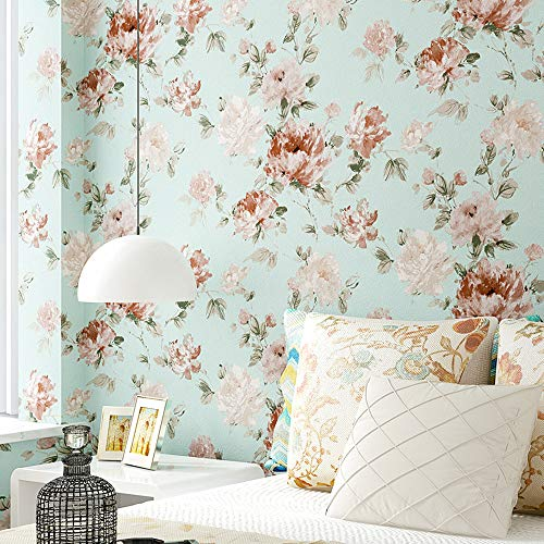 Blooming Wall Green Penoy Flower Wallpaper for Walls Wall Mural for Livingroom Bedroom Bathroom, 57 Square ft/Roll (Green Background)
