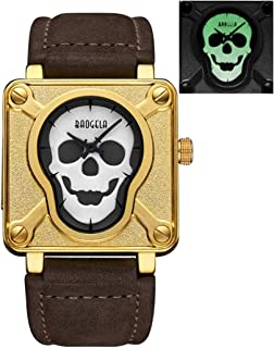 Fashion Watches 4300 Luminous Display Domineering Personality Skull Dial Men Quartz Movement Watch with PU Leather Band