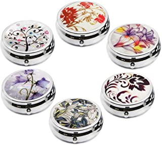 6Pcs Elegant Pill Box Case, Creatiee-Pro Portable Medicine Tablet Vitamin Holder Organizer with 3 Component for Purse Pocket Travel Gift - Practical & Fashionable(6 Patterns, 1.6 Inches)