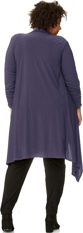 Magna Langärmelige Blazer Jacke Mantel mit Zipfeln Plus Size Stone