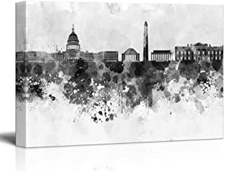 wall26 - Black and White City of Washington DC with Watercolor Splotches - Canvas Art Home Decor - 24x36 inches