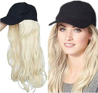 """16""""قطعة الشعر قطعة واحدة مع قبعة بيسبول قابل للتعديل، بليتش شقراء، قبعة البيسبول مع الشعر الاصطناعية تمديد طويل مجعد Seupeak"""