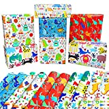 Kids Birthday Wrapping Paper Dinosaur Sheets-10 Pack Cute Animal Gift Wrapping Paper Birthday for Boys,Girls,Children,Kids,Birthday,Baby Shower,Party-Mixed Style Eco Friendly Happy Birthday Gift Wrap Paper