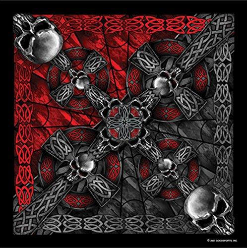 Celtic Cross and Gothic Skulls Biker Bandana Measures 21'x21'