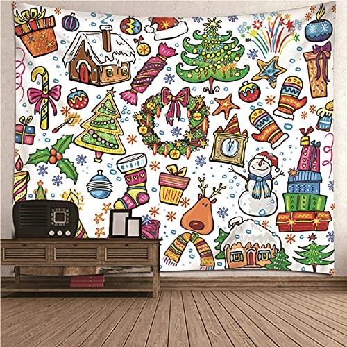 Aeici Colgar Pared Decoración, Colgante De Pared Tapiz Patrón de tema de Navidad- Vistoso, 350x256CM