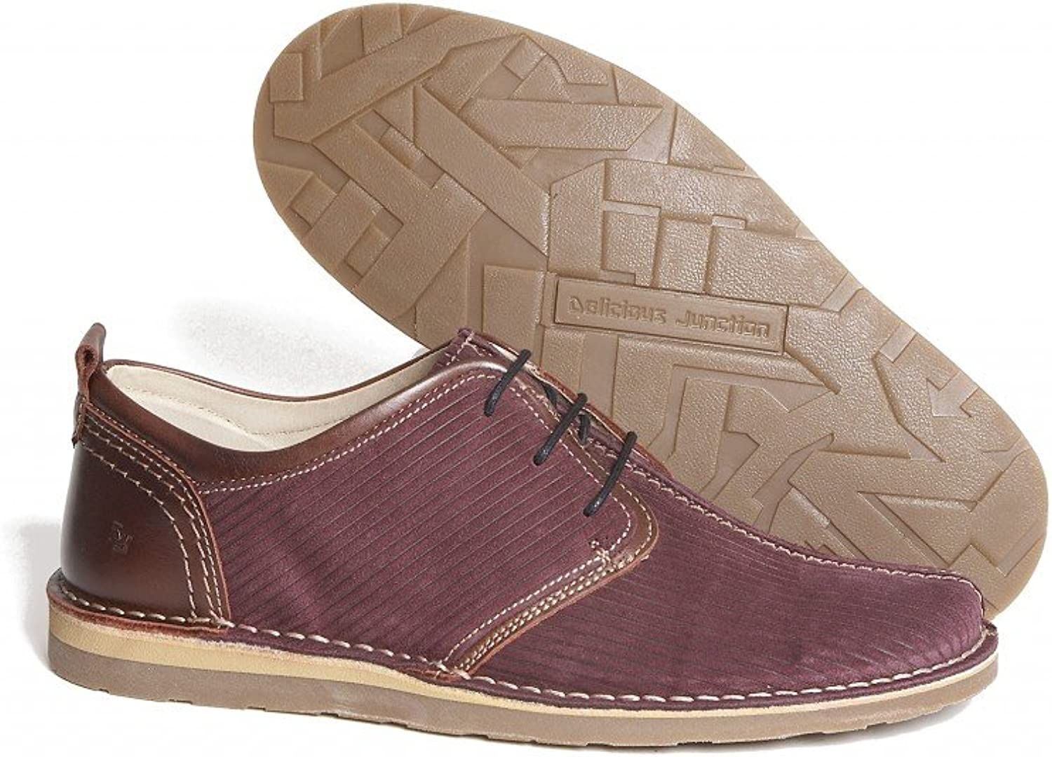 Delicious Junction Afterglow Corded Suede Lace Up shoes Burgundy