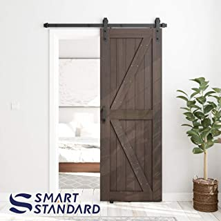 SMARTSTANDARD 30in x 84in Sliding Barn Door with 5ft Barn Door Hardware Kit & Handle, Pre-Drilled Ready to Assemble, DIY Unfinished Solid Hemlock Wood Panelled Slab, K-Frame, Brown