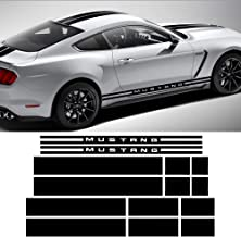 Charminghorse Side Door Rocker Stripes Hood Roof Trunk Front to Back Side Stripe Kit Vinyl Graphic Decal Stripes Sticker for 2015-2017 Ford Mustang (Gloss Black)