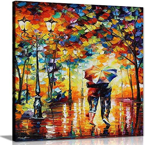 XKALXO Malen Nach Zahlen Ab 5 Holzrahmen DIY Leinwand GemäLde FüR Erwachsene Und Kinder Mit 7 BüRsten Und Acrylfarben Paar unter einem Regenschirm