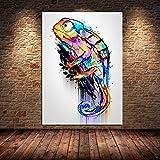 TXTYUMR Graffiti Abstracto Animal Lienzo Pintura camaleón Arte de la Pared decoración del hogar póster impresión Moderna Sala de Estar Imagen de Arte | 50x70cm sin Marco