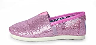 MODEOK Womens Sequins Canvas Shoes Sports Casual Flat Shoes Low Help