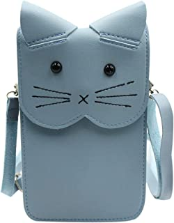 Aibearty Women Girls Leather Cellphone Bag Touchscreen Crossbody Wallet Cute Cat Phone Pouch with Shoulder Strap
