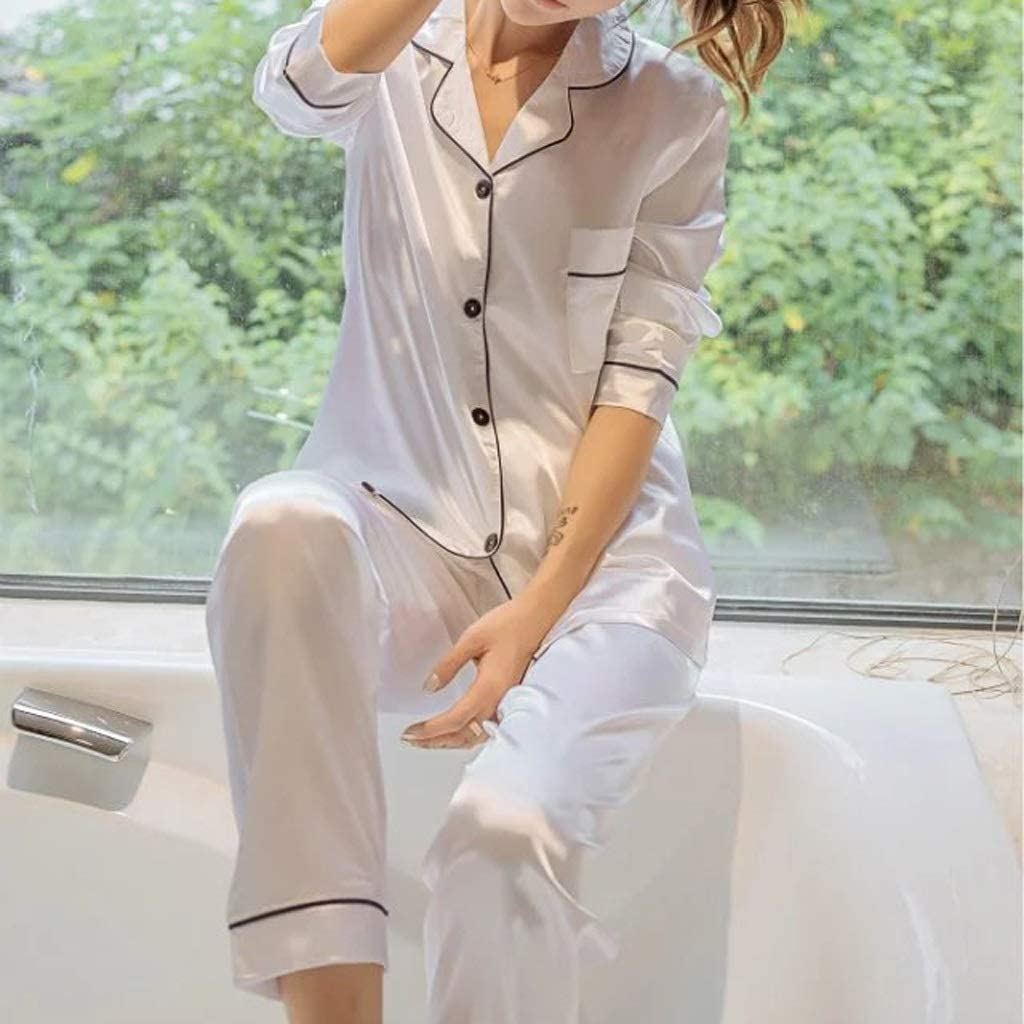 WSSBK Womens Silk Satin Pajamas Sleeve Pyjamas Set Popular popular Sleepwea Clearance SALE Limited time Long