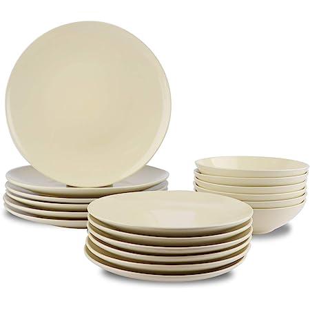 Amazon Basics 18-Piece Stoneware Dinnerware Set - Cream, Service for 6