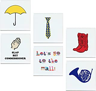 HIMYM Magnets - Set of 6 Ceramic Fridge Magnets: Blue French Horn, Yellow Umbrella, Red Cowboy Boots, Ducky Tie, Slap Bet Commissioner, The Mall