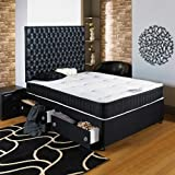 Home Furnishings UK Hf4you Black Chester Ortho Divan Bed - 3ft6 Large Single - 2 Drawers Same Side - 20' Black Faux Leather Headboard