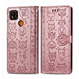 Abuenora Funda para Xiaomi Redmi 9C, Carcasa Libro con Tapa Flip Case Antigolpes Cartera Polipiel Cuero Suave Guay Cubierta Color Oro Rosa