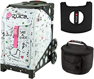 Zuca Sport Bag - Sk8 with Gift Hot Pink/Black Seat Cover and Black Lunchbox(Black Frame)