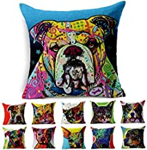 Cotton Linen Canvas Decorative Square Throw Pillow Cover Pack of 1 for 18 x 18 Pillow Inserts in Sofa Home Car Couch (Dog ...