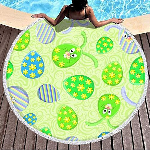 Gamoii Toalla de playa redonda con flores y huevos de Pascua, verde, manta de pícnic de secado rápido, para colgar de pícnic con flecos, para niños, mujeres, piscina o playa, color blanco, 150 cm