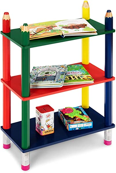 Costzon 3 Tiers Kids Crayon Book Shelf Open Shelf Bookcase For Children Stand Colorful Shelf Cartoon Fun Playroom Pencil Design