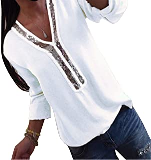 FRPE Womens Patchwork Solid Large Size Casual Long Sleeve V-Neck Blouse T-Shirt Top