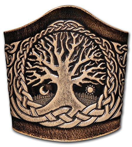 Hoppe & Masztalerz Lederarmband geprägt 90MM aus Vollrindleder Keltischer Lebensbaum mit Vögel (7) schwarz-antik zum binden (16,5 Zentimeter)