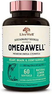 OmegaWell Fish Oil: Heart, Brain, and Joint Support | 800 mg EPA 600 mg DHA - Natural Lemon Flavor, Enteric...
