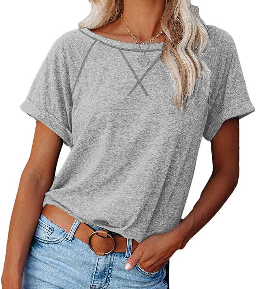 SAUKOLE Womens Color Block Crewneck Short Sleeve T Shirts Loose Casual Workout Tee Tunic Tops