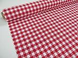 Confección Saymi Metraje 2,45 MTS Tejido Vichy Ref. Cuba Cuadro Medio 15x15 mm. Color Rojo, con Ancho 2,80 MTS.